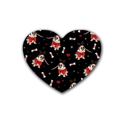 Pug Xmas Pattern Rubber Coaster (heart)  by Valentinaart
