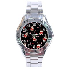 Pug Xmas Pattern Stainless Steel Analogue Watch by Valentinaart