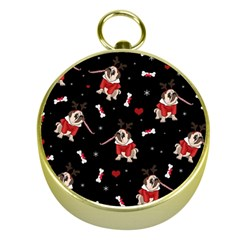 Pug Xmas Pattern Gold Compasses by Valentinaart
