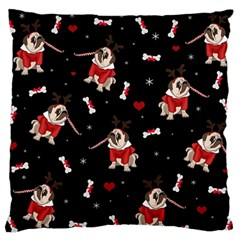 Pug Xmas Pattern Standard Flano Cushion Case (one Side) by Valentinaart