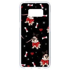 Pug Xmas Pattern Samsung Galaxy S8 White Seamless Case by Valentinaart