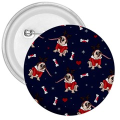 Pug Xmas Pattern 3  Buttons by Valentinaart