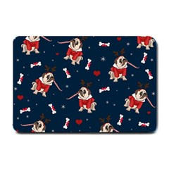 Pug Xmas Pattern Small Doormat  by Valentinaart