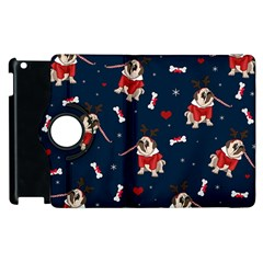 Pug Xmas Pattern Apple Ipad 3/4 Flip 360 Case by Valentinaart