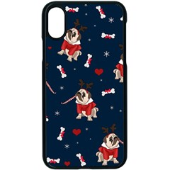 Pug Xmas Pattern Apple Iphone X Seamless Case (black) by Valentinaart
