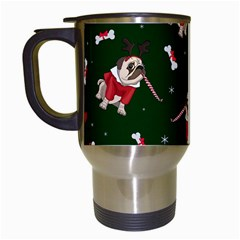 Pug Xmas Pattern Travel Mugs (white) by Valentinaart