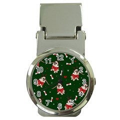 Pug Xmas Pattern Money Clip Watches by Valentinaart