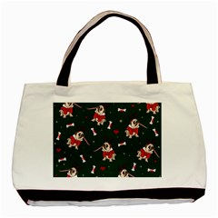 Pug Xmas Pattern Basic Tote Bag (two Sides) by Valentinaart