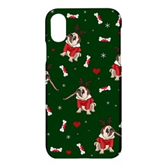 Pug Xmas Pattern Apple Iphone X Hardshell Case by Valentinaart