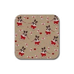 Pug Xmas Pattern Rubber Coaster (square)  by Valentinaart