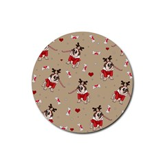 Pug Xmas Pattern Rubber Round Coaster (4 Pack)  by Valentinaart