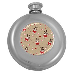 Pug Xmas Pattern Round Hip Flask (5 Oz) by Valentinaart
