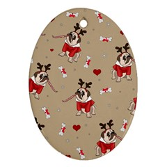 Pug Xmas Pattern Oval Ornament (two Sides) by Valentinaart