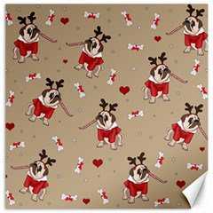 Pug Xmas Pattern Canvas 16  X 16   by Valentinaart