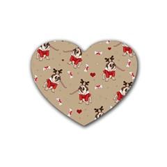 Pug Xmas Pattern Heart Coaster (4 Pack)  by Valentinaart