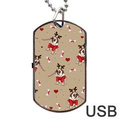 Pug Xmas Pattern Dog Tag Usb Flash (two Sides) by Valentinaart