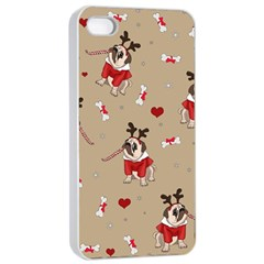 Pug Xmas Pattern Apple Iphone 4/4s Seamless Case (white) by Valentinaart