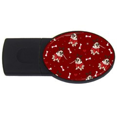 Pug Xmas Pattern Usb Flash Drive Oval (4 Gb) by Valentinaart
