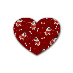 Pug Xmas Pattern Heart Coaster (4 Pack)  by Valentinaart
