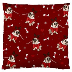 Pug Xmas Pattern Large Cushion Case (one Side) by Valentinaart