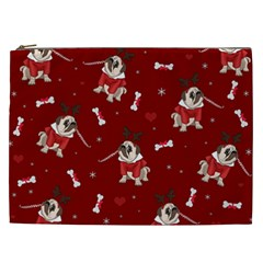 Pug Xmas Pattern Cosmetic Bag (xxl)  by Valentinaart