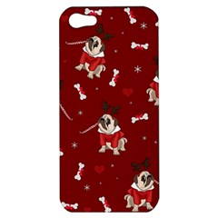Pug Xmas Pattern Apple Iphone 5 Hardshell Case by Valentinaart