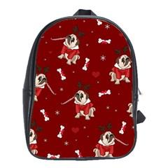 Pug Xmas Pattern School Bag (xl) by Valentinaart