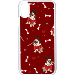 Pug Xmas Pattern Apple Iphone X Seamless Case (white) by Valentinaart