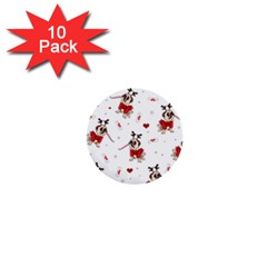 Pug Xmas Pattern 1  Mini Buttons (10 Pack)  by Valentinaart