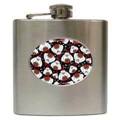 Yeti Xmas Pattern Hip Flask (6 Oz) by Valentinaart