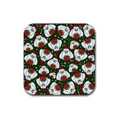 Yeti Xmas Pattern Rubber Square Coaster (4 Pack)  by Valentinaart