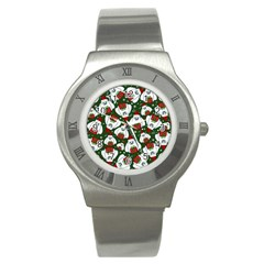 Yeti Xmas Pattern Stainless Steel Watch by Valentinaart