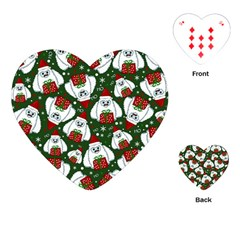Yeti Xmas Pattern Playing Cards (heart)  by Valentinaart