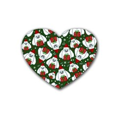 Yeti Xmas Pattern Rubber Coaster (heart)  by Valentinaart