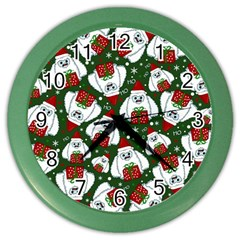 Yeti Xmas Pattern Color Wall Clocks by Valentinaart