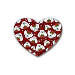 Yeti Xmas Pattern Heart Coaster (4 Pack)  by Valentinaart