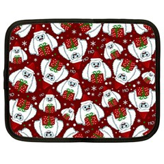 Yeti Xmas Pattern Netbook Case (xl)  by Valentinaart