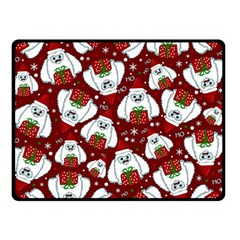 Yeti Xmas Pattern Double Sided Fleece Blanket (small)  by Valentinaart
