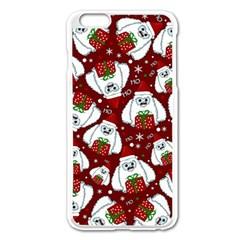 Yeti Xmas Pattern Apple Iphone 6 Plus/6s Plus Enamel White Case by Valentinaart