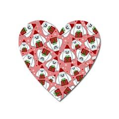 Yeti Xmas Pattern Heart Magnet by Valentinaart