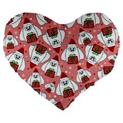 Yeti Xmas Pattern Large 19  Premium Flano Heart Shape Cushions by Valentinaart