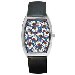 Yeti Xmas Pattern Barrel Style Metal Watch