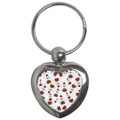 Yeti Xmas Pattern Key Chains (heart)  by Valentinaart