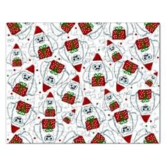 Yeti Xmas Pattern Rectangular Jigsaw Puzzl by Valentinaart