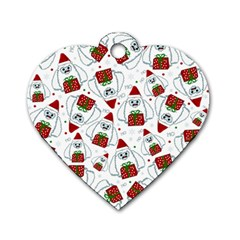 Yeti Xmas Pattern Dog Tag Heart (two Sides) by Valentinaart