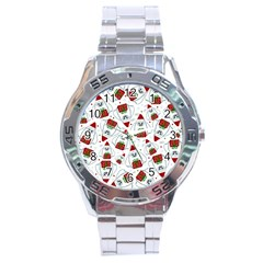 Yeti Xmas Pattern Stainless Steel Analogue Watch by Valentinaart