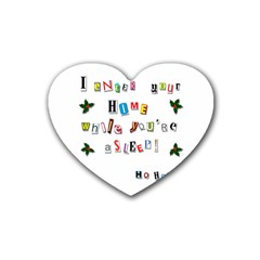 Santa s Note Heart Coaster (4 Pack)  by Valentinaart