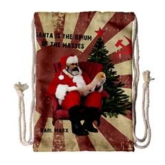 Karl Marx Santa  Drawstring Bag (large) by Valentinaart