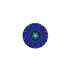 Accordant Electric Blue Fractal Flower Mandala 1  Mini Buttons by beautifulfractals