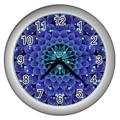 Accordant Electric Blue Fractal Flower Mandala Wall Clocks (silver)  by beautifulfractals